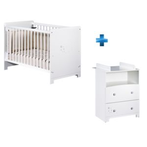tex baby lit b b 60 x 120 cm commode b b little star blanc pas cher achat vente. Black Bedroom Furniture Sets. Home Design Ideas