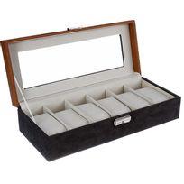 Touslescadeaux - Boite Coffret de rangement montres - Pour 6 montres - Gris