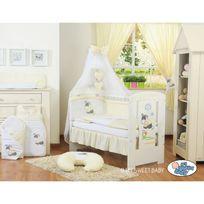 Autre - Lit et parure de lit bébé âne crème jaune ciel de lit mousseline 120 60