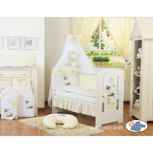 Marque Generique Lit et parure de lit bébé âne crème jaune ciel de lit mousseline 140 70