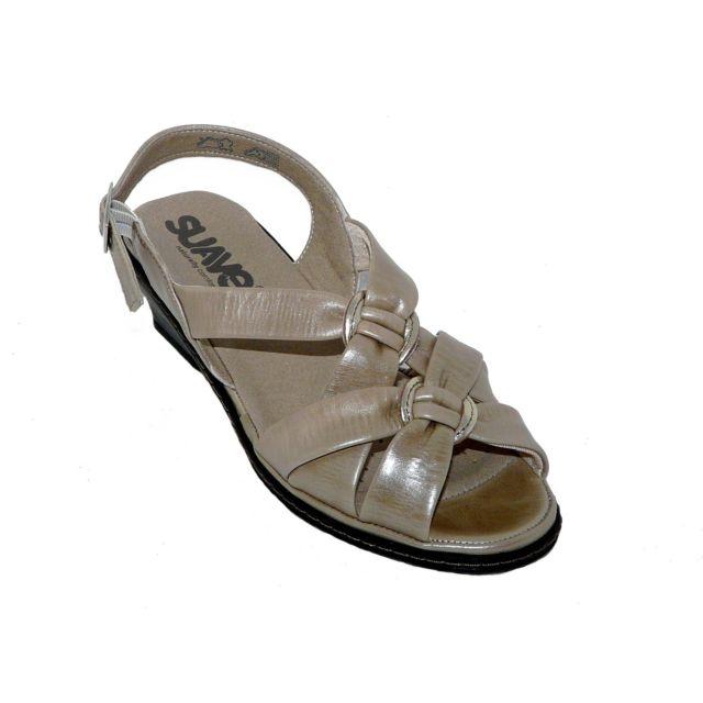Suave - En Soldes - Sandales chaussures femme Cuir confort beige ... 1fd0303055b8