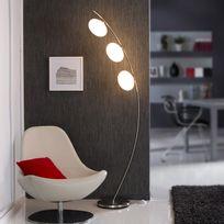 Mathias - Lampadaire 3 lumières acier et verre hauteur 178cm avec interrupteur Colby