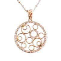 Totalcadeau - Collier élégant avec multiples cercles dorés et strass bijou fantaisie pas cher pendentif