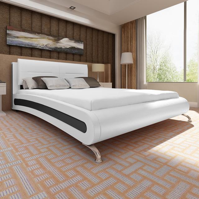 justdeco superbe lit en similicuir avec pieds et matelas m moire 200 180 cm blanc neuf. Black Bedroom Furniture Sets. Home Design Ideas