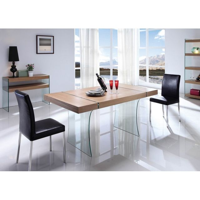 Table Repas Verre Bois Cosy 106 160 90 75 Cm