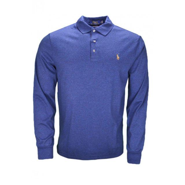 Ralph Lauren - Polo manches longues Ralph Lauren en jersey bleu marine pour  homme f2d080d362c8