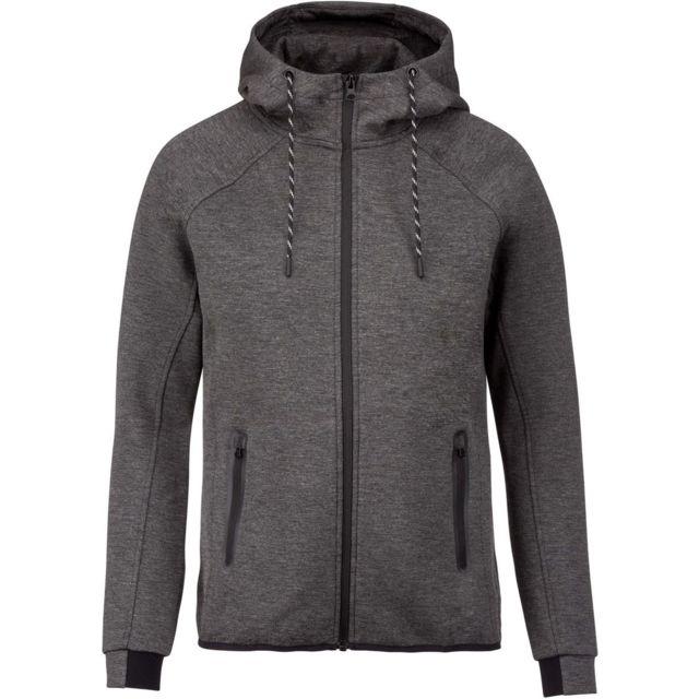 Proact Veste à capuche zippée urban - Pa358 - homme - gris chiné foncé