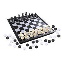 Quantum Abacus - Azerus Standard Line: Un jeu d'échecs, de dames et de Backgammon classiques 3-en-1, avec un tableau magnétique pliable, la taille M - 25cm x 25cm
