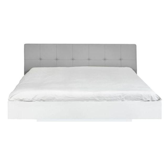 Temahome Lit Adulte Blanc Design Float Avec Tete De Lit Cuir - Lit en cuir 180x200