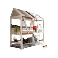 Emob - Lit cabane avec passerelle - white wash