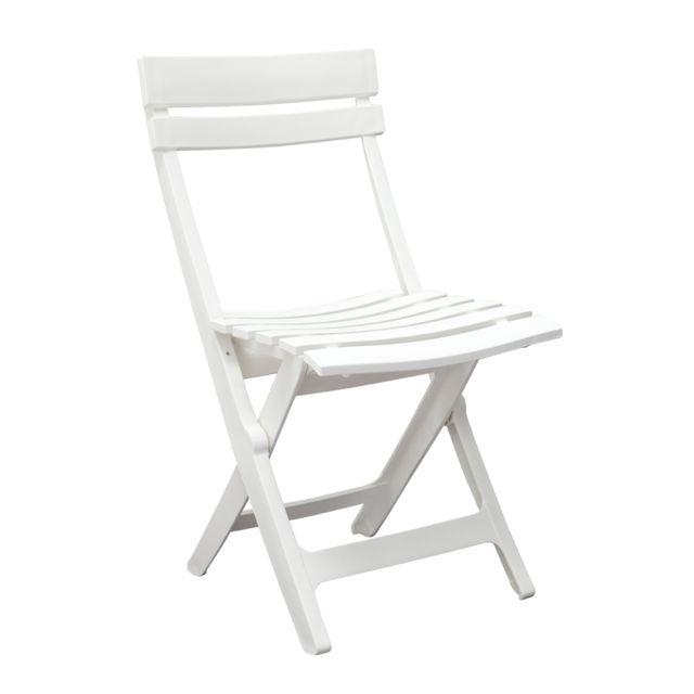 Grosfillex chaise de jardin miami pliante blanc pas - Chaise jardin pliante plastique ...