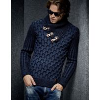 Beststyle - Pull hiver homme bleu col chale fashion