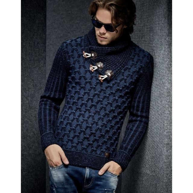 2adb73c553b8 Beststyle - Pull hiver homme bleu col chale fashion - pas cher Achat ...