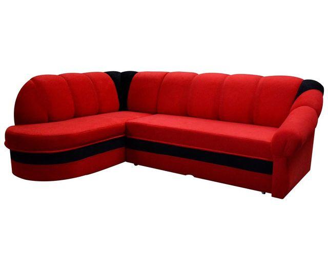 Comforium - Canapé d angle convertible à 3 places en tissu noir et rouge  avec a1617760de53