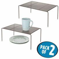 Set De 2 étagère Cuisine Rangement Cuisine Autoportant En Métal Range Vaisselle De Cuisine Pour Tasses Assiettes Aliments Etc Couleur Bronze