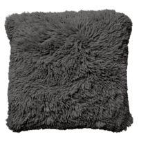 Tiseco Home Studio - Coussin Long Pile à Poils Longs 45 x 45 cm Gris