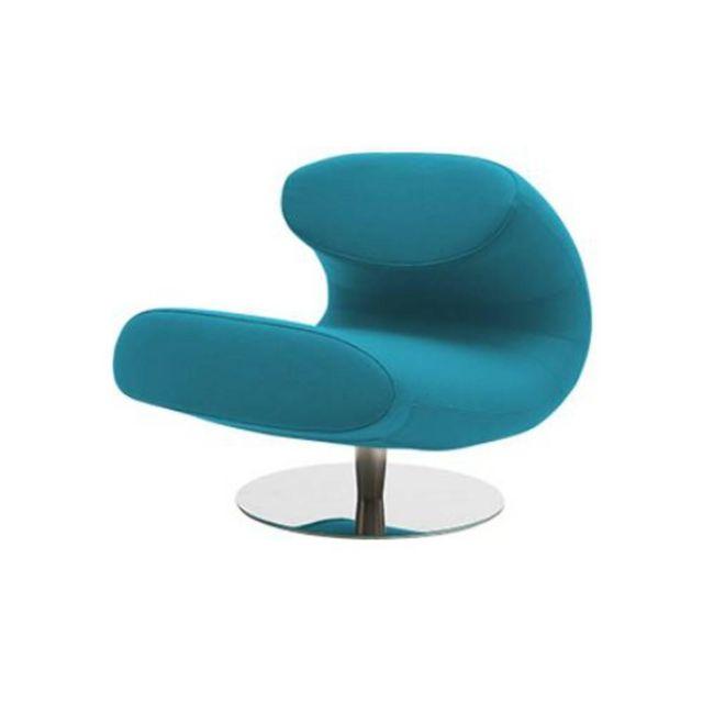 Inside 75 Fauteuil design Rio en microfibre bleu azur avec piétement pivotant en acier inoxydable Softline