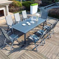 Table jardin aluminium rallonge papillon - Achat Table jardin ...