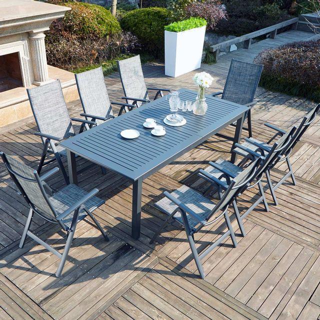 CONCEPT USINE Berana 8 : table de jardin extensible 10 personnes + 8 chaises en aluminium