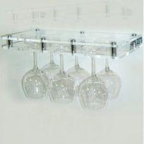 Sobrio - Porte-verre mural en plexiglas transparent - 6 verres - Plexiglas transparent Aci-sbr407