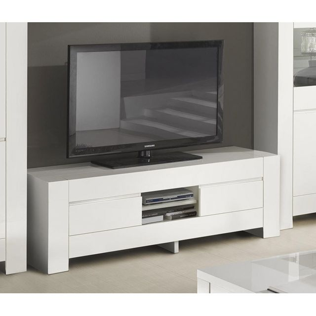 Sofamobili Meuble Tv 2 portes blanc laqué design Frizz