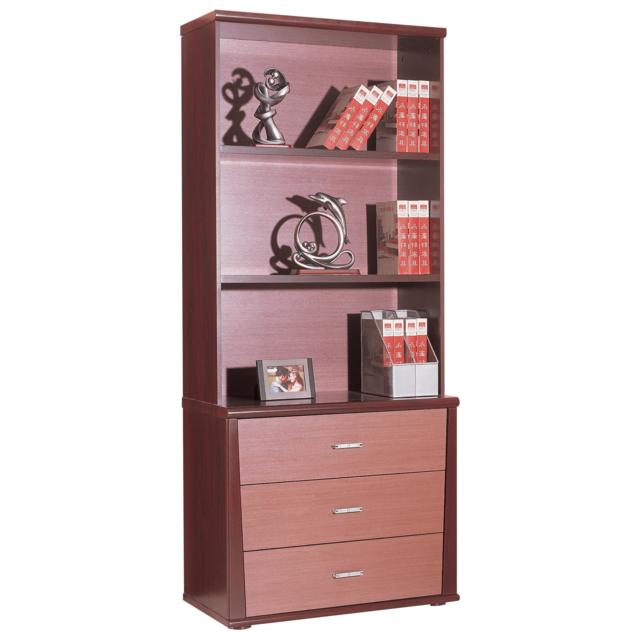 comforium biblioth que 3 niches et 3 tiroirs coloris bois roux 85cm x 197cm x 46cm pas. Black Bedroom Furniture Sets. Home Design Ideas