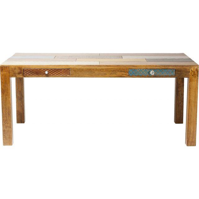Karedesign Table en bois Soleil 180x90 cm 2 tiroirs Kare Design
