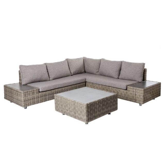 MA MAISON MES TENDANCES Salon bas de jardin en rotin gris et coussins gris TAVIRA - L 230 x l 230 x H 65