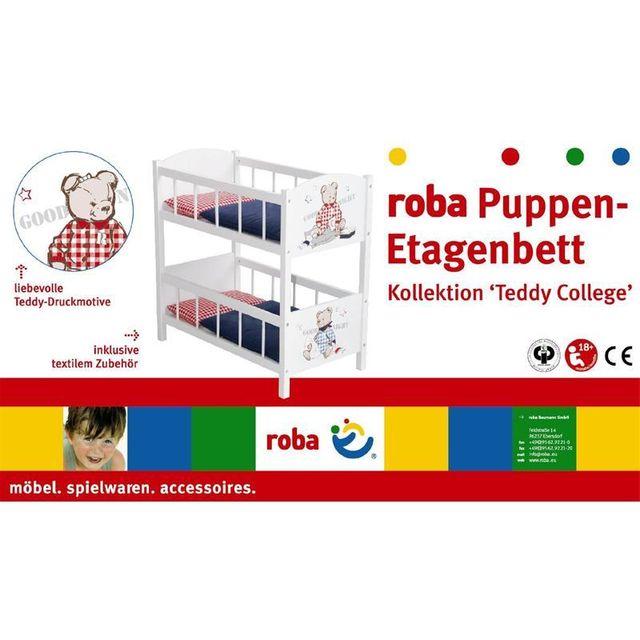 Roba 98831 Lit superposé en bois pour poupées Collection Teddy College