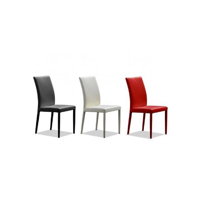 vente unique lot de 2 chaises atalante cuir de vachette rouge - Vente De Chaises
