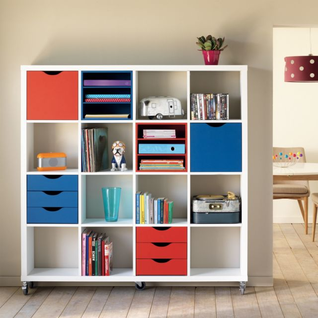 alina kubico meuble 16 cases blanc avec tagres et tiroirs colors