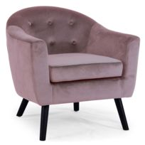 menzzo fauteuil scandinave savoy velours rose - Fauteuil Rose Pas Cher