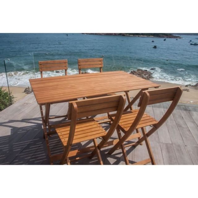 SALON DE JARDIN - ENSEMBLE TABLE CHAISE FAUTEUIL DE JARDIN Ensemble repas de jardin pliable 4 places - table 120x70cm et