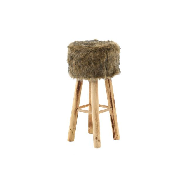 Tabouret de bar 68cm assise carrée fourrure - Olive