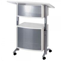 Medium - Pupitre de Conférence réglable avec rangement - blanc / Aluminium