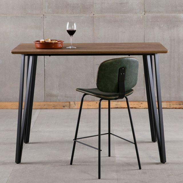 Kasalinea Table haute moderne couleur noyer Bora