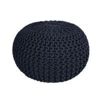 Today - Pouf tricot 100% coton 30x40cm Goa - Bleu Nuit