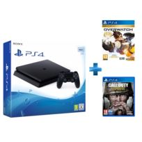 Console PS4 SLIM 500Go E Noire + Qui es-tu ? voucher, + Call of Duty WWII - PS4 + Jeu PS4 OVERWATCH GOTY