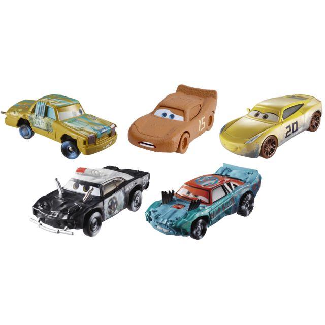 MATTEL CARS 3 - Pack de 5 voitures Die Cast Lot de 5 véhicules miniatures Die-cast à l'effigie des héros de Cars 3.Idéal pour réinventer des aventures avec Fash Mc Queen et ses amis.