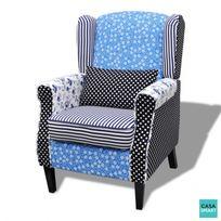 CASASMART - Fauteuil Drake en patchwork blanc et bleu