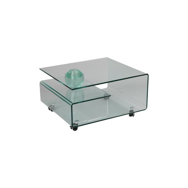 Table basse rectangulaire à roulettes en verre trempé Glass