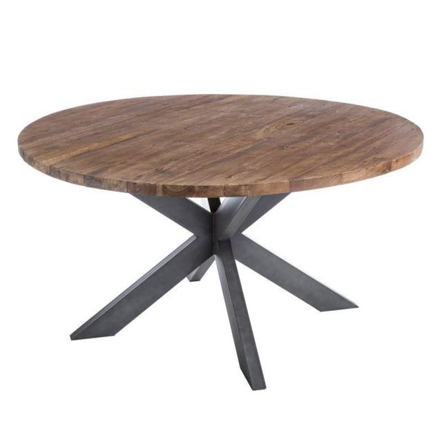 Tousmesmeubles Table De Repas Ronde Bois Metal Ornella 150cm X