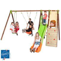 - Portique bois-métal 2,30 m cabane, mur escalade, toboggan pour 8 enfants