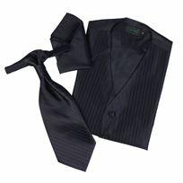 Touche Finale - Set de cérémonie: gilet, cravalière et pochette coloris noir à fines rayures ton sur ton