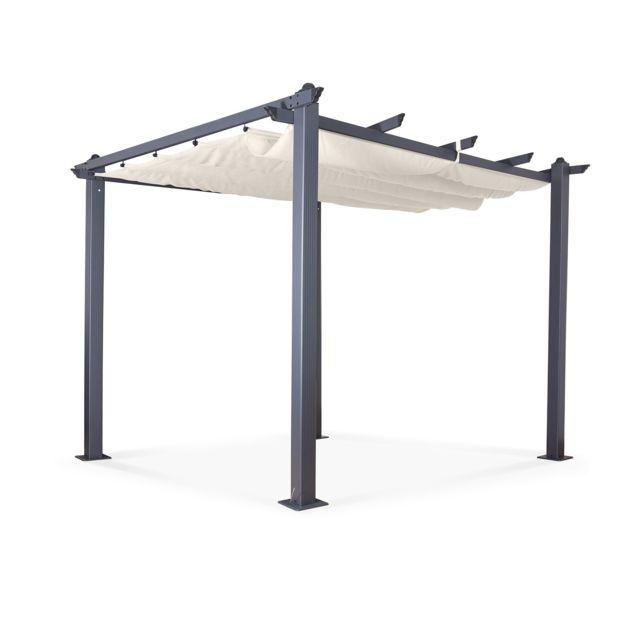 Tonnelle Pergola Aluminium 3x3m Toile Coulissante Rétractable Gris Ecru Hero