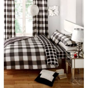 just contempo parure de lit avec housse de couette r versible en coton m lang motif vichy. Black Bedroom Furniture Sets. Home Design Ideas