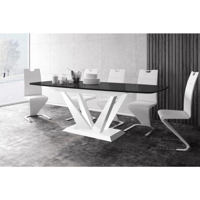 Carellia Table a manger design extensible 160 ÷ 256 cm x p : 89 cm x h: 75 cm – noir