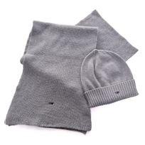 Tommy Hilfiger , Pack bonnet et écharpe homme gris en coton