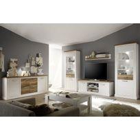Comforium - Ensemble meuble tv coloris pin blanc et noyer satiné