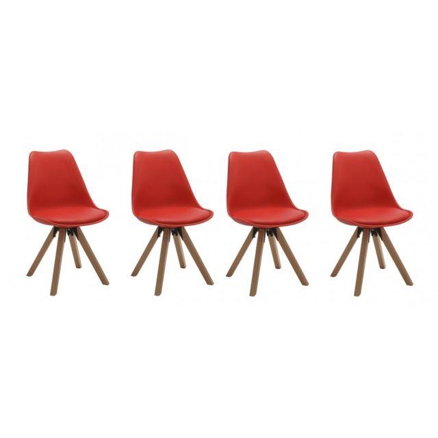 Autre Set de 4 chaises de salle à manger design simili-cuir rouge pieds bois Cds09128